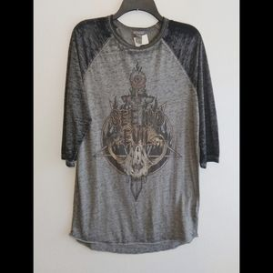 H&M Divided See No Evil skull & sword burn out tee